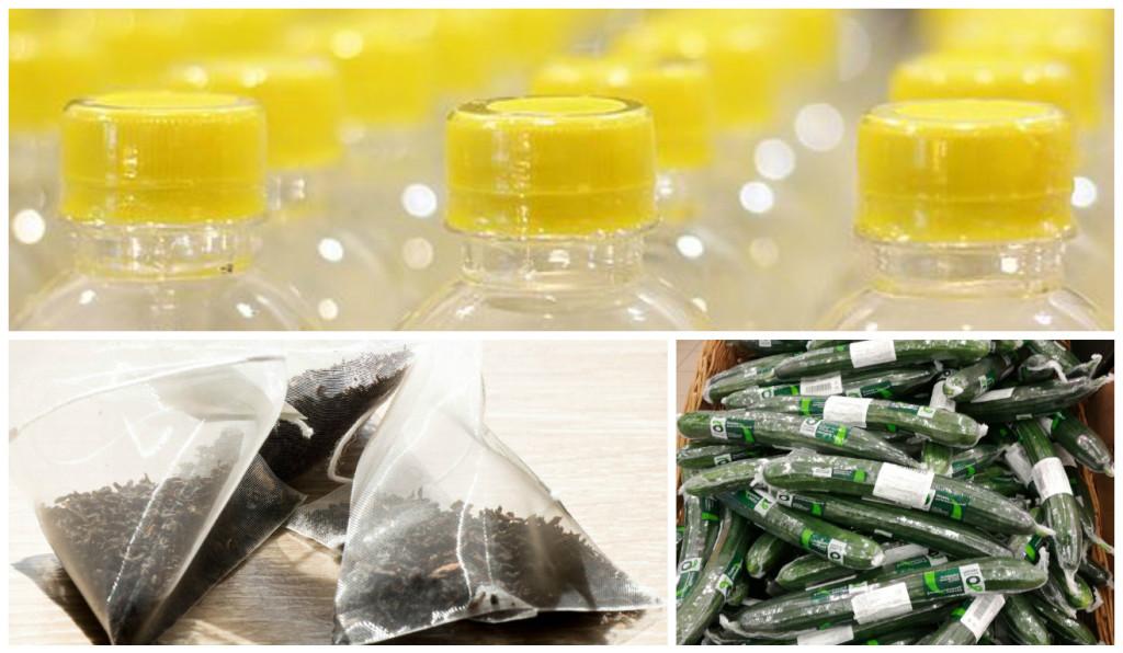 Пример упаковочного маразма: бутылки с запаянной крышкой дополнительно пакуются в пластик, чайные пакетики делают из пластика или, помимо коробки, каждый пакетик упаковывают в индивидуальную обертку, заботливо заворчивают в пластик каждый огурчик. Стоит отказаться от покупки таких продуктов.